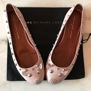 MARC JACOBS PINK STUDDED MOUSE FLATS